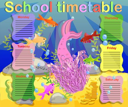 Timetable with days of weeks for school. schedule for children with cartoon mermaid and turtle