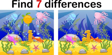 Underwater world, ocean floor with octopus, submarine, whale, fish, corals and sea shells. Educational game for kids: find ten differences