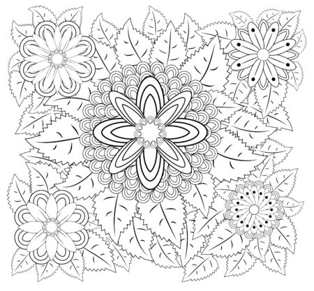 Coloring book for adult and older children. Coloring page with vintage flowers pattern.