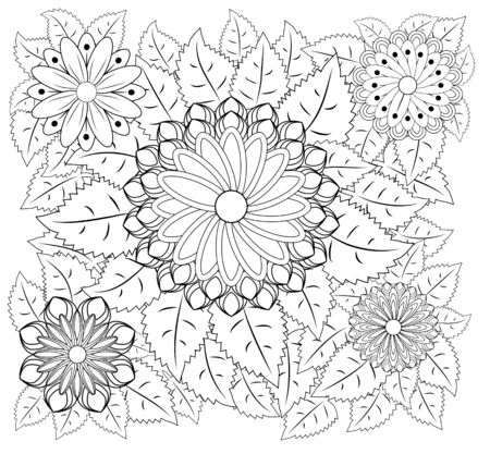 Página para colorear de flores de fantasía. Doodle dibujado a mano. Ilustración con motivos florales. Africano, indio, tótem, tribal