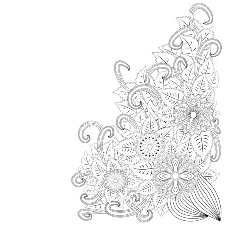 illustration zentangl. Flower frame. Coloring book. Antistress for adults and children. The work was done in manual mode. Black and white