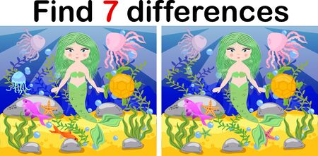 Find differences, game for children, mermaid underwater in cartoon style, education game for kids, preschool worksheet activity, task for the development of logical thinking