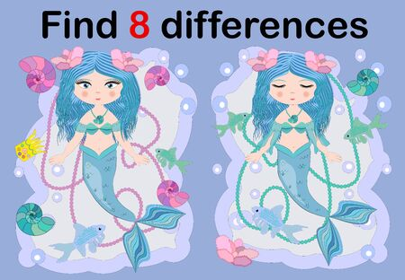 Education game for preschool kids, find the differences. Beautiful mermaid with a string of pearls. Cartoon illustration