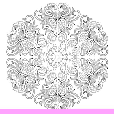 Outline round floral pattern for coloring book page. Antistress for adults and children. Doodle ornament in black and white