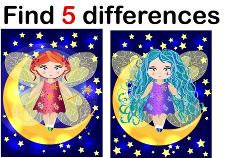 Find differences education game for children, fairy in the moon 스톡 콘텐츠 - 131628935