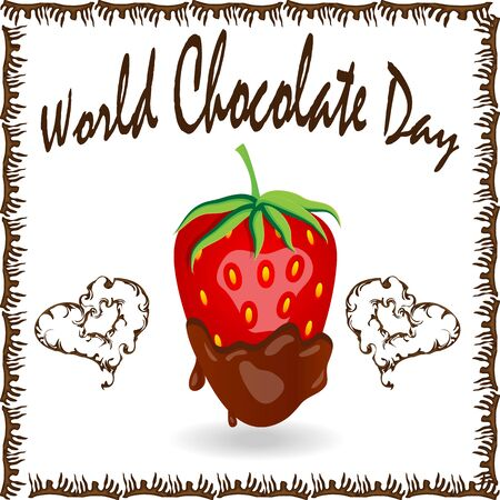 World Chocolate Day. A poster with an inscription and a strawberry in chocolate. Red berry strawberry dipped in melting dark chocolate, fruit, fondue recipe, valentine concept, transparent Banco de Imagens - 131628940
