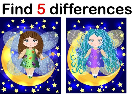Find differences education game for children, fairy in the moon 스톡 콘텐츠 - 131629525