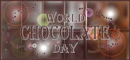 World Chocolate Day. A poster with an inscription, a texture of a chocolate tile. Elegant brown color background with beautiful text design of happy chocolate day.