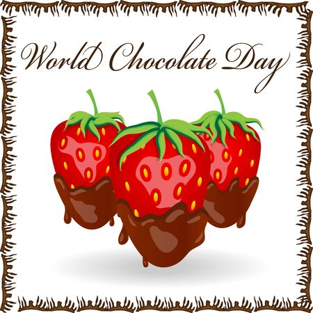 World Chocolate Day. A poster with an inscription and a strawberry in chocolate. Red berry strawberry dipped in melting dark chocolate, fruit, fondue recipe, valentine concept, transparent Banco de Imagens - 131590064