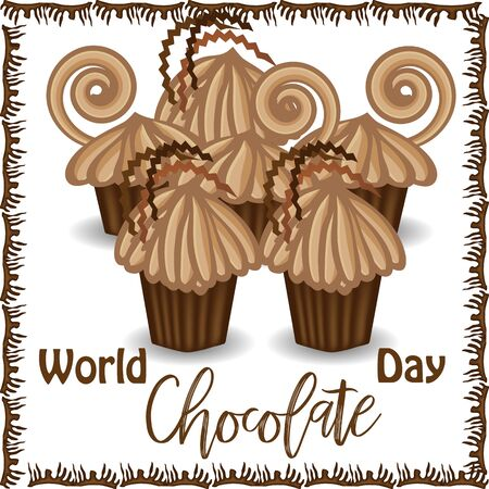 World Chocolate Day. July 11. Postcard with chocolate cakes and inscription. Stok Fotoğraf