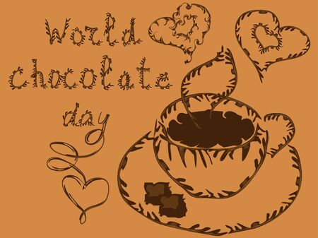 World Chocolate Day. Poster with an inscription and an elegant cup of hot chocolate