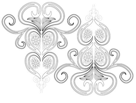 Henna tattoo doodle elements on white background. Mehendi flowers  set. Abstract floral elements in Indian style. Ethnic ornament, coloring book Stock fotó