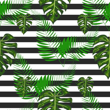 Exotic summer print. Seamless stripe pattern with tropical leaves. Jungle background.