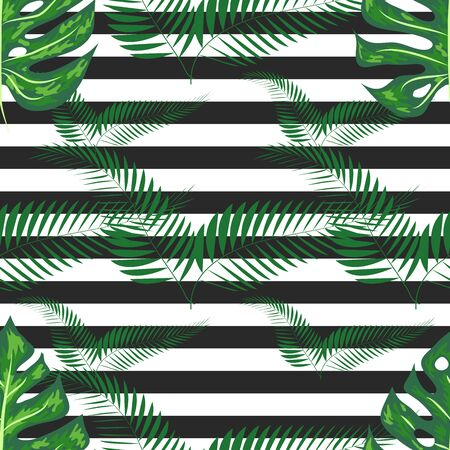Seamless pattern with tropical leaves: palms, monstera. jungle leaf seamless pattern striped background. Swimwear botanical design.