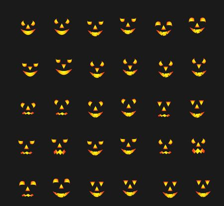 Scary Halloween pumpkin faces icons set, eyes