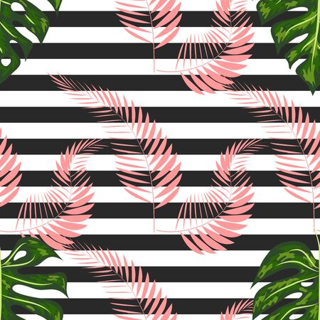 Seamless pattern of monstera leaves. Tropical leaves on hand drawn ink stripes. graphic design.