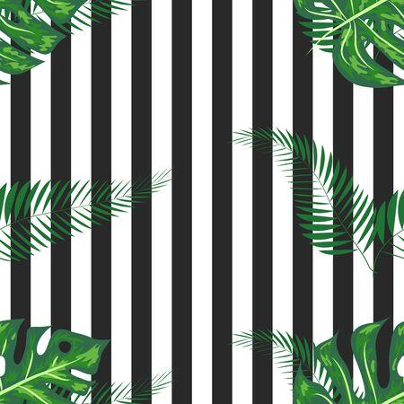 Monstera seamless striped pattern. Summer tropical design.