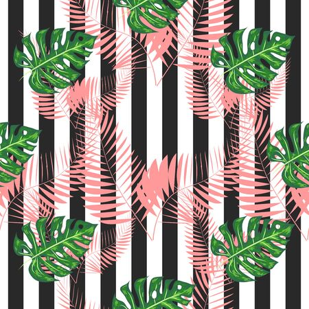 exotic seamless pattern with monstera palm leaves. Tropical hawaiian textile botanical design. Floral backdrop on the black white geometric background.