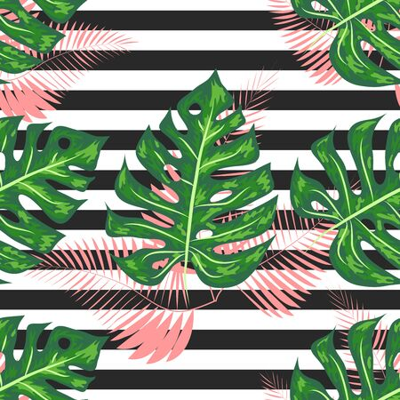 Monstera seamless striped pattern. Summer tropical design.