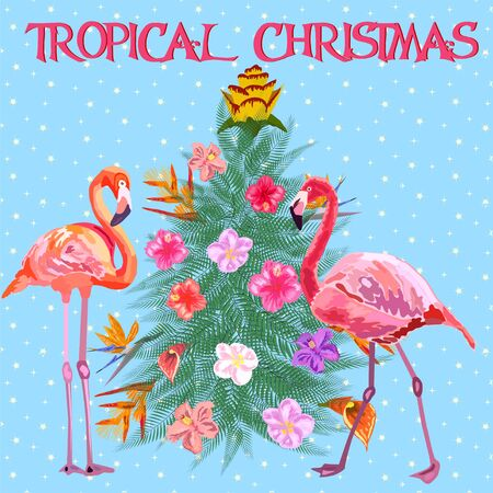 Tropical Christmas. Flamingo, palm leaves and snowflakes. Template for cards and party invitations. Christmas tree made of tropical leaves