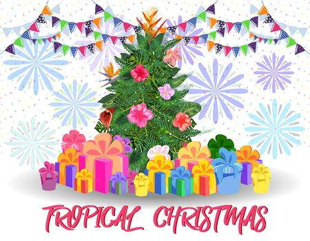 Christmas tree made of tropical monstera leaves, avocado, gifts under the tree and fireworks. New Year celebration concept, banner, postcard, creative. Иллюстрация