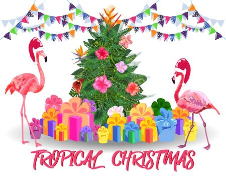 Christmas tree made of tropical leaves of monstera, avocado, flamingos in Santas hats, gifts under the Christmas tree, fireworks. New Year celebration concept, banner, postcard, creative. Иллюстрация