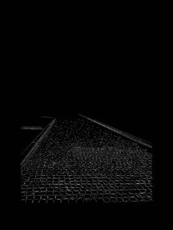Hand drawn image of paving stones, sidewalk, small gray bricks, sketch. Illustration