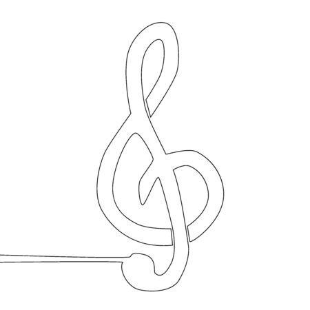 A treble clef is drawn by a single black line on a white background. One-line drawing. Continuous line. Иллюстрация