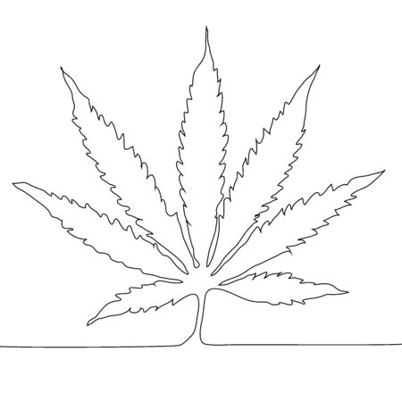 Continuous line drawing. Marijuana leaf outline icon.Cannabis simple line vector icon. Drug plants symbol, illustration.