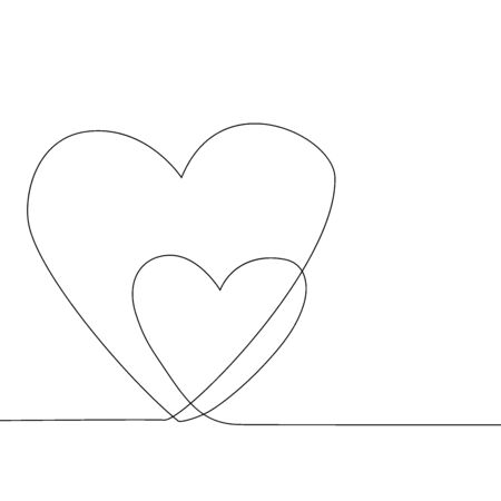 Continuous line drawing two hearts, Black and whiteminimalist illustration of love concept