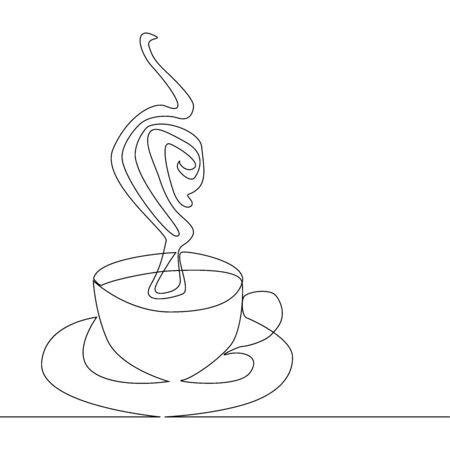 Continuous line drawing of coffee cup on white background