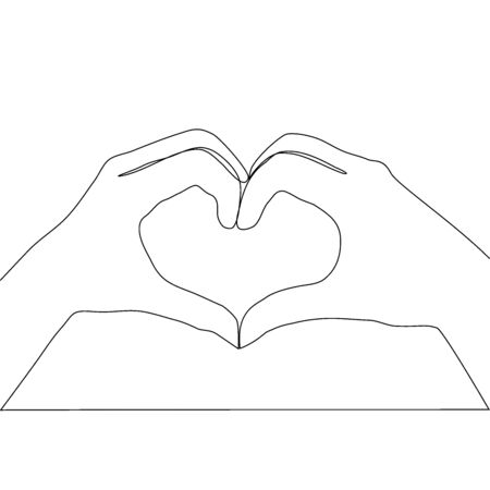 Two hands making heart sign continuous line drawing, social help service, love and volunteering, hands showing heart gesture, single line Иллюстрация