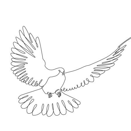 one line pigeon. Continuous one line drawing. Concept of the symbol of freedom.