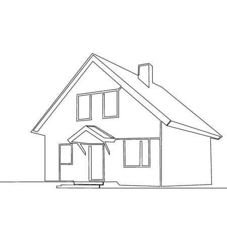 continuous line drawing of house. illustration, building,