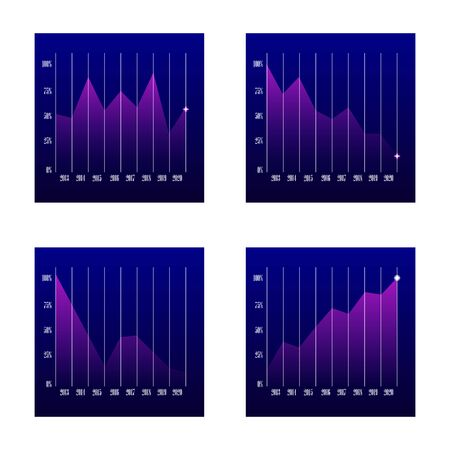 Set of graphs of growth and fall on a blue background. line business graphs showing performance and sales