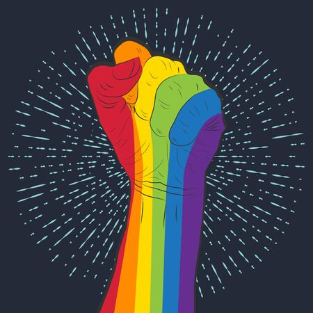 Rainbow colored hand with a fist raised up. Gay Pride. LGBT concept. 矢量图像