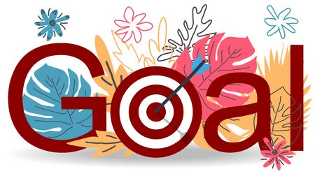 Business concept illustration, Target with an arrow, hit the target, goal achievement against the background of tropical leaves monstera