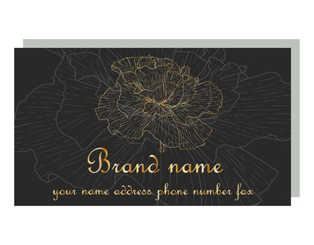 Business Luxury card. Modern Abstract design with poppy flowers decor. Place for texts
