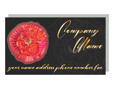 Cards with the image with red poppies. business card for a beauty salon with golden poppies, stylish design.