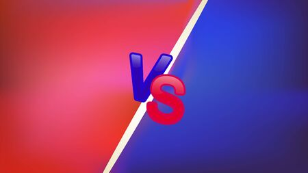 Blue and red neon versus  letters for sports and wrestling. Battle versus match, the concept of the game is competitive versus.