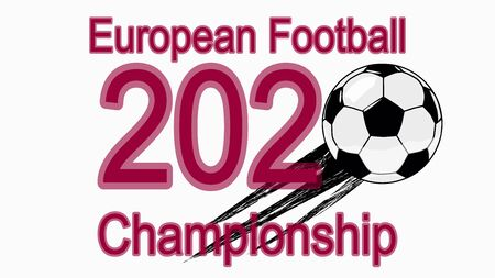 2020 European Football Championship, banner, web design, ball flying in 2020. Foto de archivo - 134879339