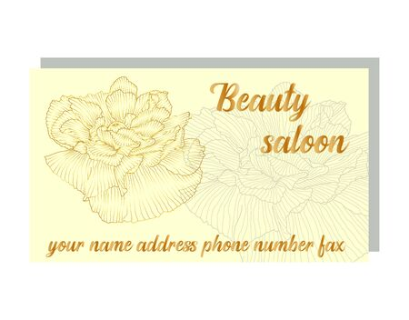 business card for a beauty salon with golden poppies, stylish design. Business Luxury card. Modern Abstract design with poppy flowers decor. Place for texts 矢量图像