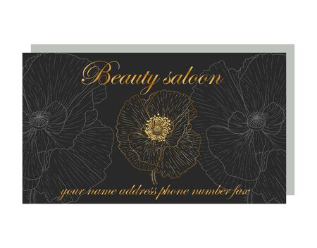 business card for a beauty salon with golden poppies, stylish design. Business Luxury card. Modern Abstract design with poppy flowers decor. Place for texts Иллюстрация