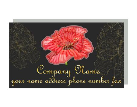Cards with the image with red poppies. business card for a beauty salon with golden poppies, stylish design. Templates for creating business cards, posters, advertising pages. Иллюстрация
