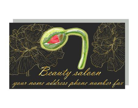 Cards with the image with poppies. business card for a beauty salon with golden poppies, stylish design. Templates for creating business cards, posters, advertising pages.