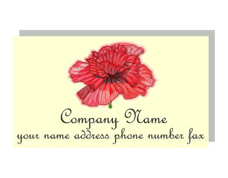 Business card for a beauty salon with watercolor poppies, stylish business design Иллюстрация