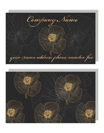 business card for a beauty salon with golden poppies, stylish design. Business Luxury card. Modern Abstract design with poppy flowers decor