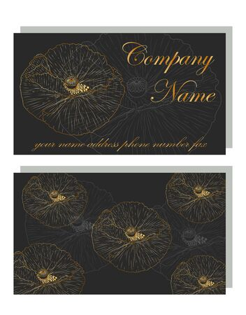 business card for a beauty salon with golden poppies, stylish design. Modern Abstract design with poppy flowers decor.