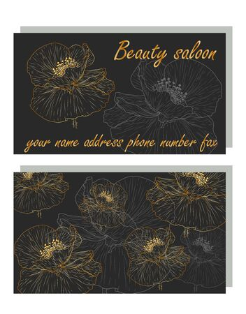 business card for beauty salon with golden poppies, stylish design. Business Luxury card. Modern Abstract design with poppy flowers decor. Place for texts