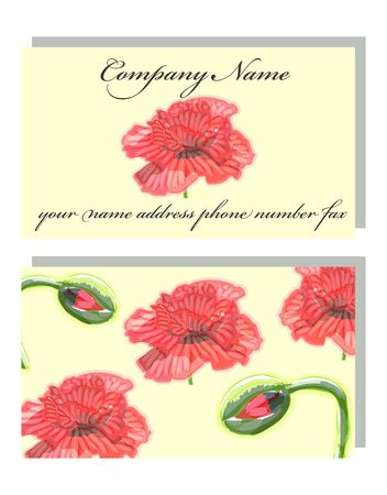 Business card for a beauty salon with watercolor and golden poppies, stylish business design